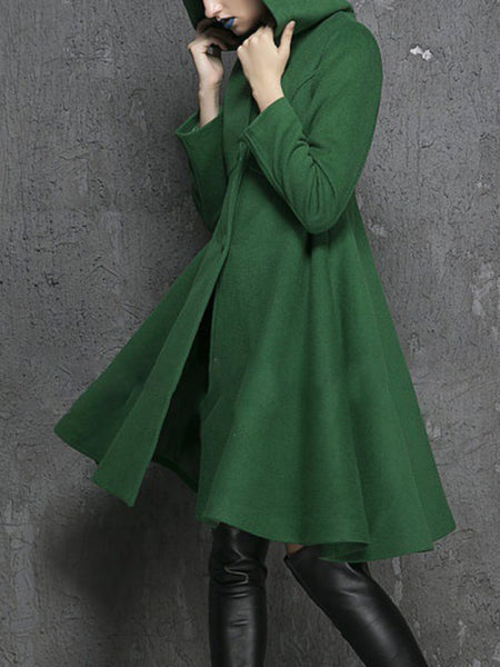 3 Colors Pockets Solid Elegant A-Line Lady's Winter Skirt Coats With Hoodie