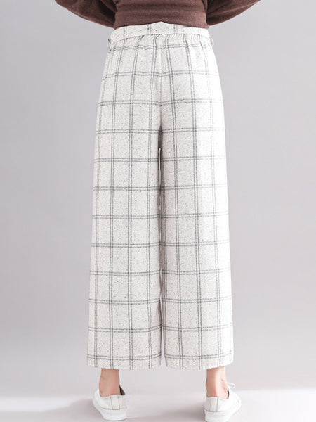 All Season Natural Fresh & Clean Style Gingham Loose Pants