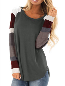 4 Colors Color-Block Long Sleeve Simple & Basic Pullover T-Shirts