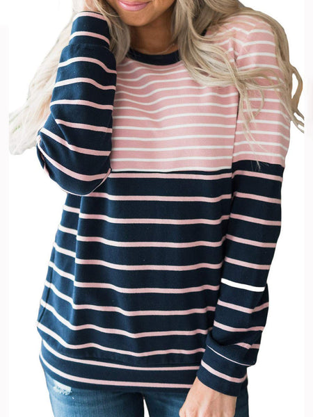 3 Colors Stripes Simple & Basic Stripes Pullover Jumper Sweatshirts