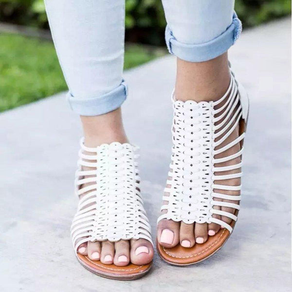 Zipper Leather Casual Sandals