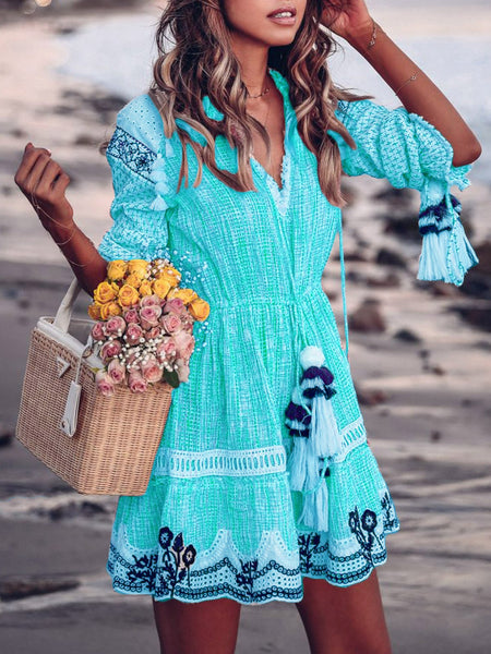 V neck Patchwork Elegant Tassel Casual Dress
