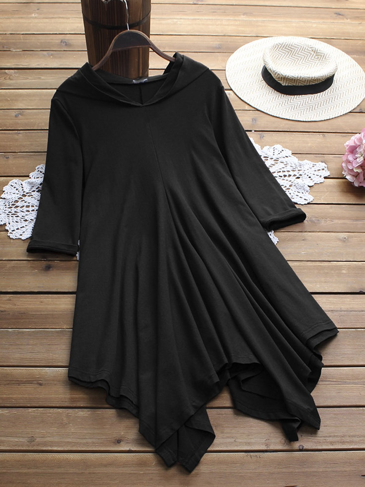 Solid Asymmetrical Casual Dress