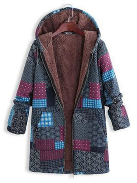 Abstract Printed Hoodie Long Coat