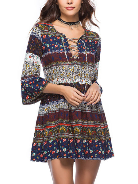 Cotton-Blend 3/4 Sleeve Sweet Dress