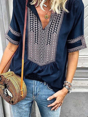 Tribal Casual V Neck Short Sleeve T-shirts