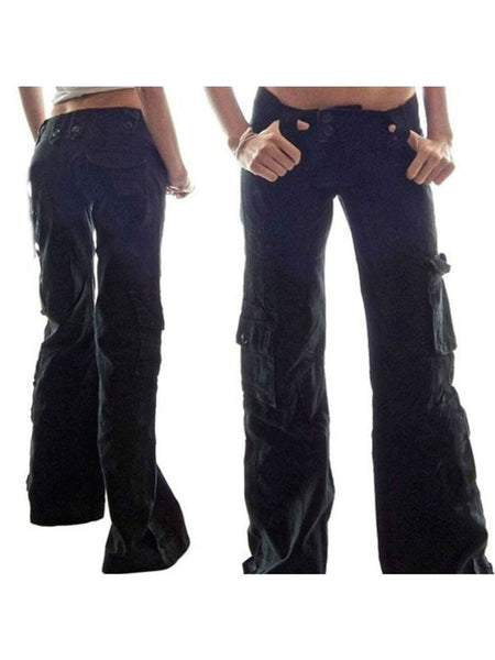 4 Colors Plus Size Solid Vintage Zipper Cotton Pants