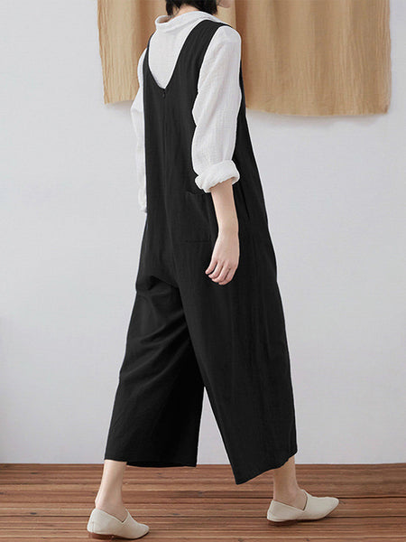 Sleeveless Casual Solid Jumpsuits