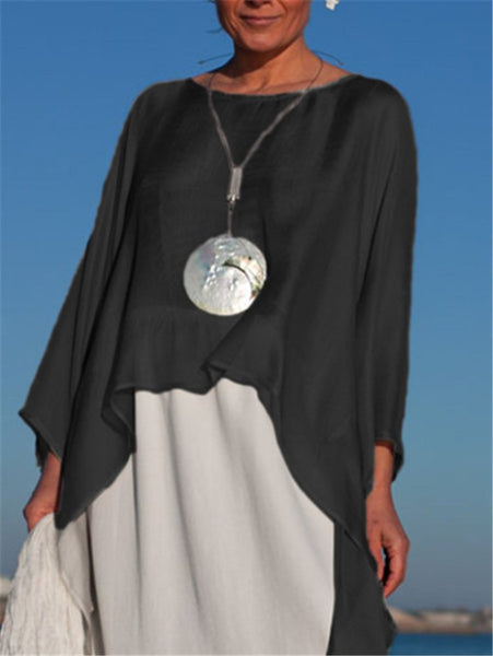 Cotton-Blend Asymmetrical Long Sleeve Shirts & Tops