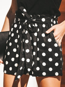 Black Polka Dots Belt Holiday Casual Shorts