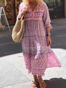 Boho Floral Maxi Shift Long Sleeve Beach Dress