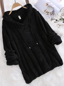 Mohair Hooded Solid Color Autumn Winter Long Sleeve Sweatshirts