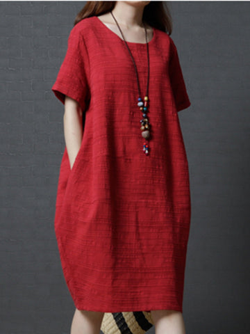 Plain Cocoon Casual Linen Midi Dress