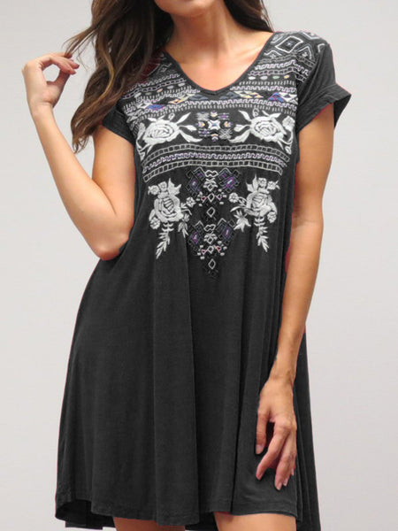 V Neck Short Sleeve Cotton-Blend Patchwork Printed Dress