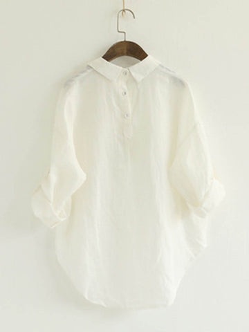 Cotton Solid Shirt Collar Elegant Women's Basic Shirts