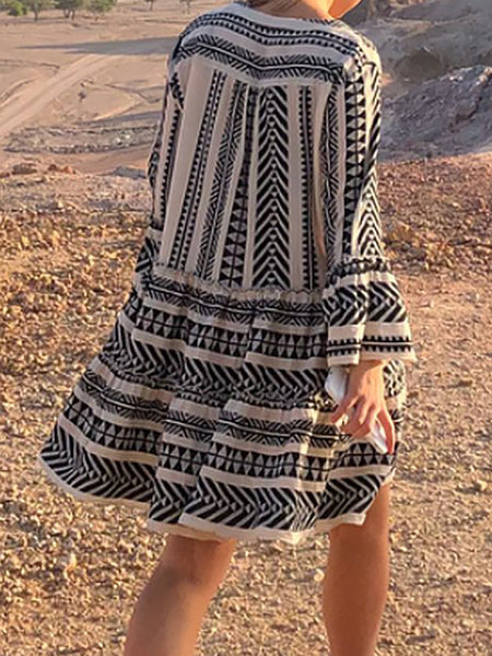 Plus Size V neck Women Summer Dress Swing Bell Sleeve Tribal Mini Dress