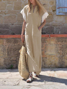 Casual V Collar Lace Short Sleeves Plain Linen Maxi Dresses