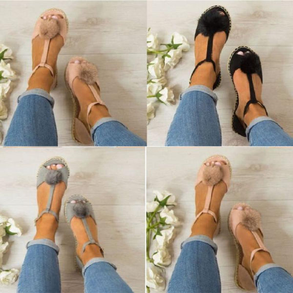 Plus Size Peep Toe Adjustable Buckle Sandals