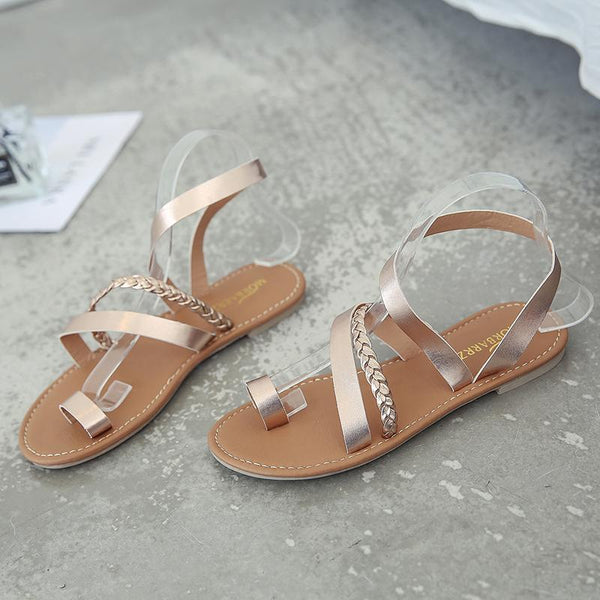Casual Flat Heel Slip On Sandals