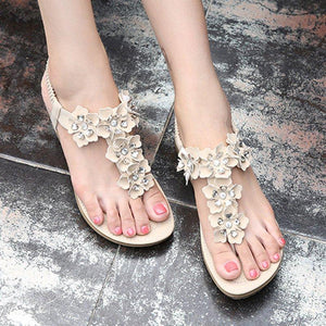 Women's Flower PU Flat Heel Casual Elastic Band Sandals