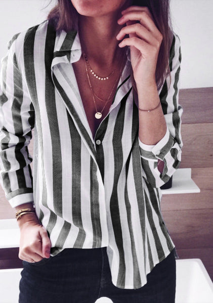 Collar Striped Long Sleeve Casual Shirts