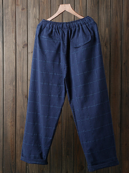 Linen Printed Cotton Pockets Checke/Plaid Casual Pants