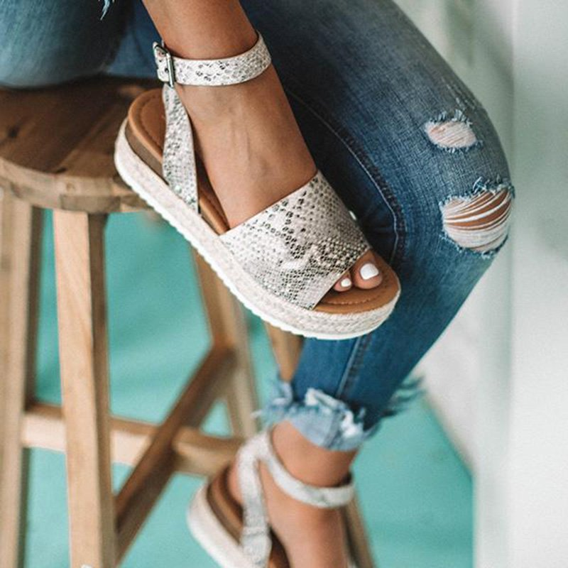 Espadrille Adjustable Buckle Platform Sandals