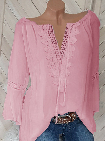 Plus Size 3/4 Sleeve Women Casual Spring Blouses