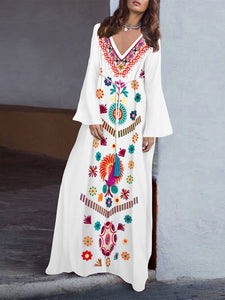 White Casual Floral Embroidered Shift Casual Maxi Fall Dress