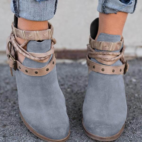 Women Flocking Booties Casual Adjustable Buckle Shoes
