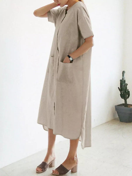Casual Plain Crew Neck Buttoned Short Sleeve Pockets Dress