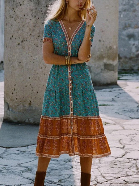 Vintage Floral Printed V Neck Vacation Dresses