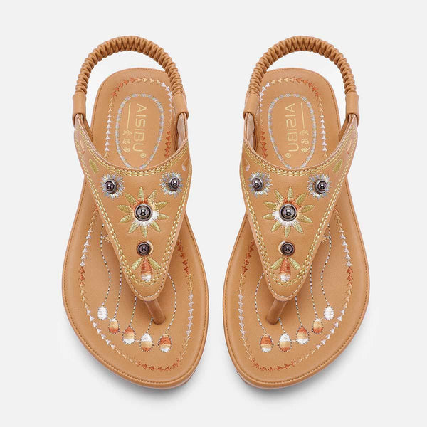 Comfy Sole Vintage Rivet Sandals Flat Heel Summer Pu Sandals