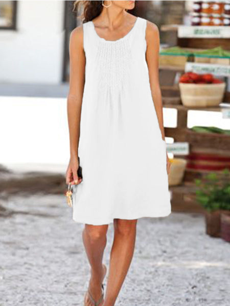 U-Neck Cotton-Blend Casual Sleeveless Dresses