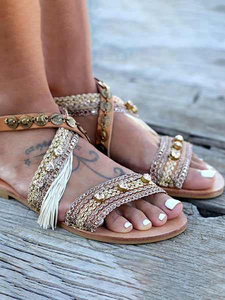 Gladiator Roman Fringe Flat Sandals Comfortable Beach Shoes In Brown