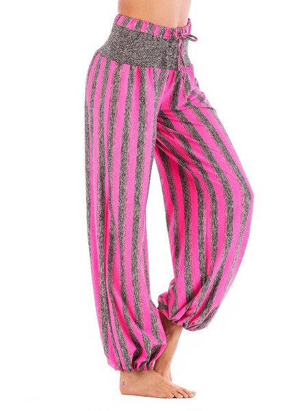 Striped Casual Paneled Plus Size Wide Leggings Pants