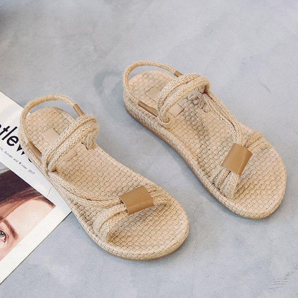 Retro Flat Roman Woven Hemp Summer Sandals