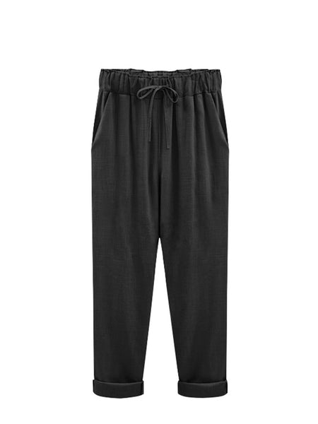 Plus Size Casual Pockets Linen Pants & Capri