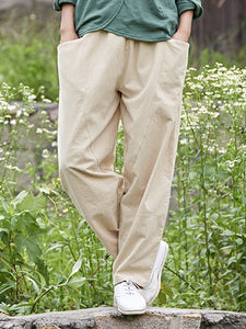 Casual Cotton Pockets Linen Solid Pants