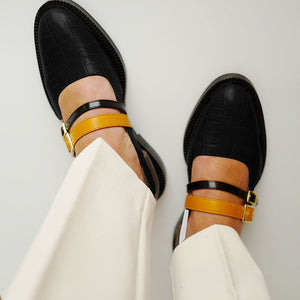 Vintage buckle with ladies loafers