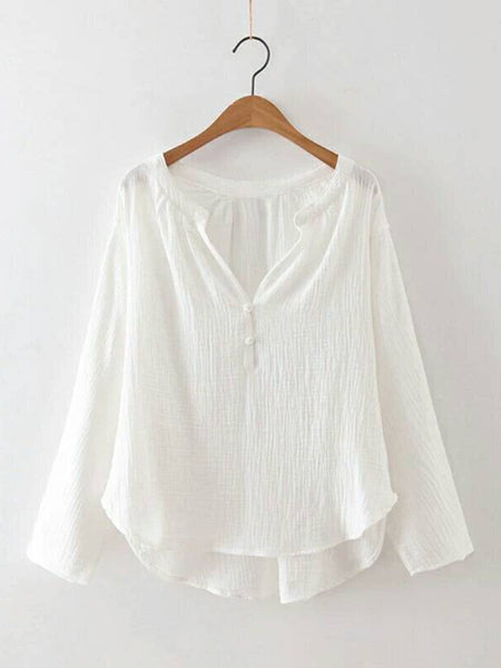 White Long Sleeve Cotton V neck Solid Blouse