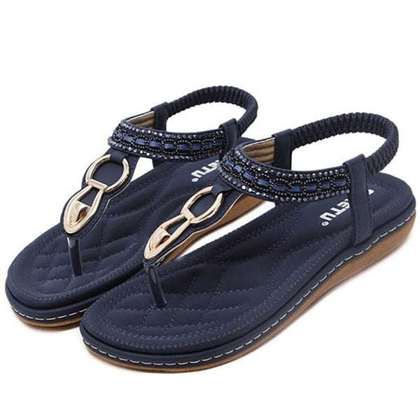 Casual PU Elastic Band Flat Sandals