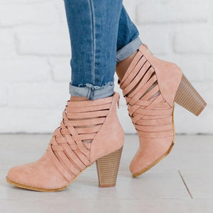 Plus Size Weave Zipper Booties Casual Chunky Heel Ankle Boots