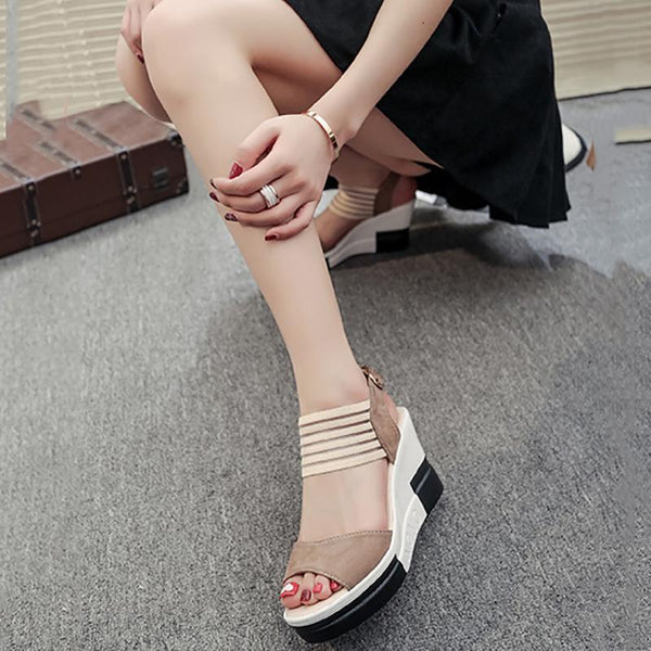 Adjustable Buckle Platform Shoes Wedge Heel Suede Sandals