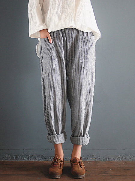 Gray Linen Casual Pockets Striped Cotton Pants