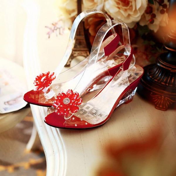 Flower Wedge Heel Peep Toe Jelly Shoes