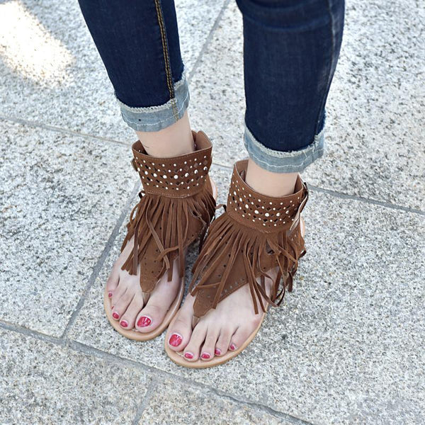 Large Size Fringed Buckle Sandals