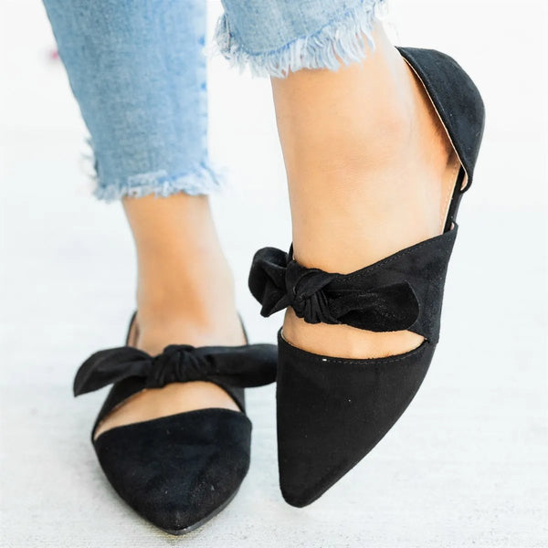Chic Bow Tie Style Closed/almond Toe Flats
