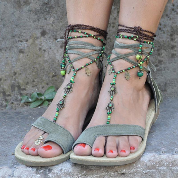 Large Size Lace-up Fringed Thong Sandals