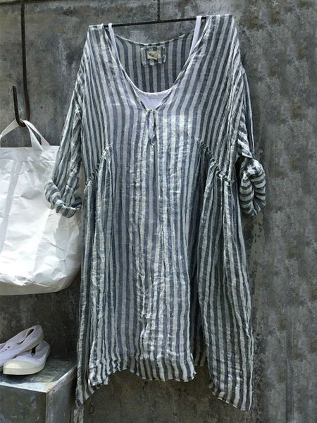 Casual V-Neck 3/4 Sleeve Striped Plus Size Bat Sleeve Tops